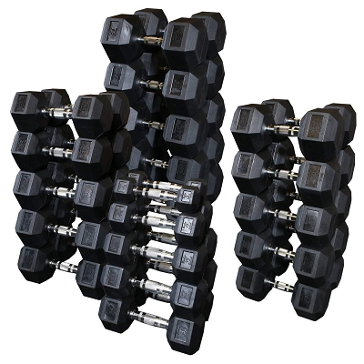 5-75lb New Rubber Hex Dumbbell Set