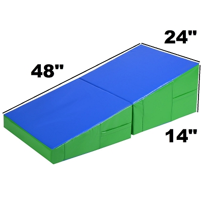 48x24x14 Folding Gymnastics Wedge Green & Blue