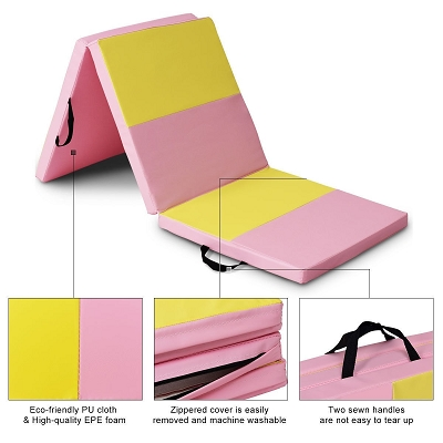 Pink  6'x2' Gymnastics Folding Mat  Yellow