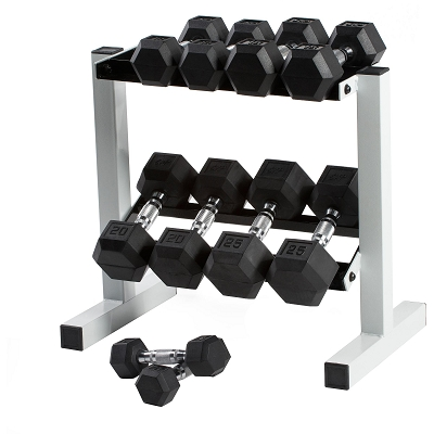 5-50lb New Rubber Hex Dumbbell Set