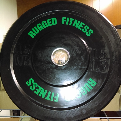 15 lb Rubber Bumper Plate (pair) - Rugged Fitness