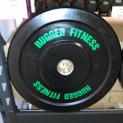 25 lb Rubber Bumper Plate (pair) - Rugged Fitness