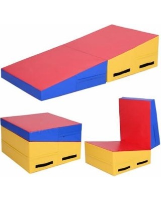 60x30x14 Foldling Gymnastics Wedge Yellow & Blue & Red